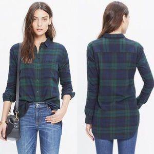 Madewell Flannel Shirt in Dark Plaid